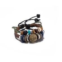 Trendy Vintage style men bracelet Round charm jewelry men double wick Alloy buckle beaded bracelet men handmade for Gift