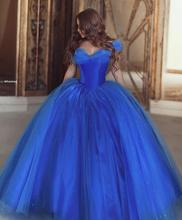 Royal Blue Puffy 2019 Cheap Quinceanera Dresses Ball Gown  Cap Sleeve Tulle Beaded Party Sweet 16