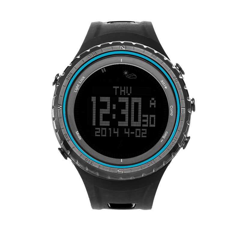 SUNROAD FR801B Digital Men Sport Watch-5ATM Waterproof Altimeter Compass Watches Fishing Barometer Clock  Sport Watch Men Blue