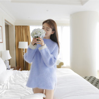 New Winter Sweater Dress Korean Color Sleeve Head In The Long Thick Mink Cashmere Rabbit Hair