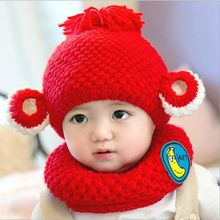 2016 Winter Hot Selling Newborn Baby Kids Knitted Cap +Scarf Two-piece Sets Cute Super Warm Infant Toddler Girl Boy Children Hat
