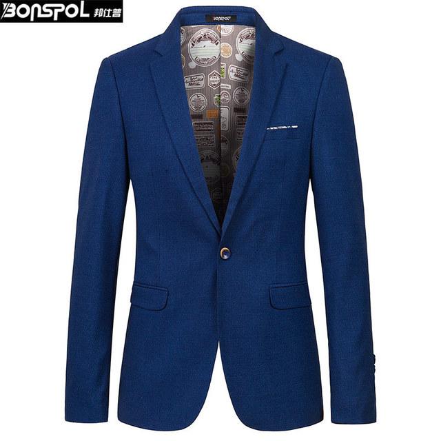 Marcas BONSPOL Nuevo traje joven hombre cultiva su moralidad pequeño traje chaqueta de traje de negocios de ocio de los hombres de Moda barata Blazer