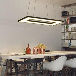 Image 1 - Rectangle or Square Lights White or Black Modern Led Pendant Lights For Living Room Dining Room Kitchen Room Pendant Lamp