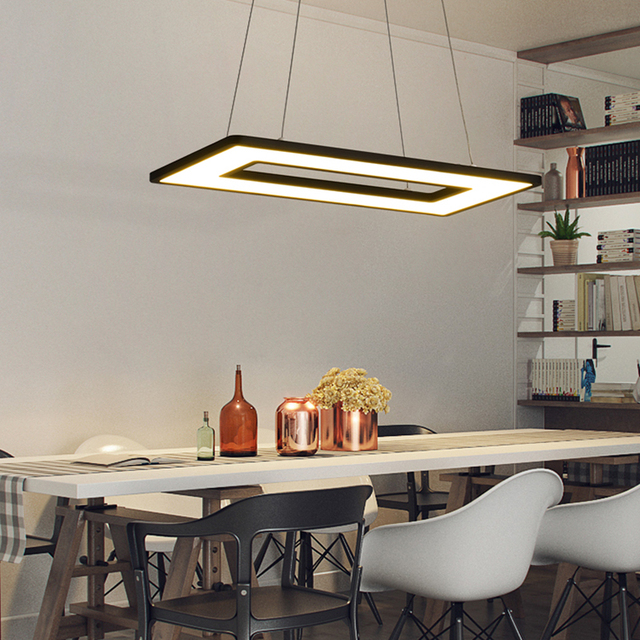 Rectangle or Square Lights White or Black Modern Led Pendant Lights For Living Room Dining Room Kitchen Room Pendant Lamp