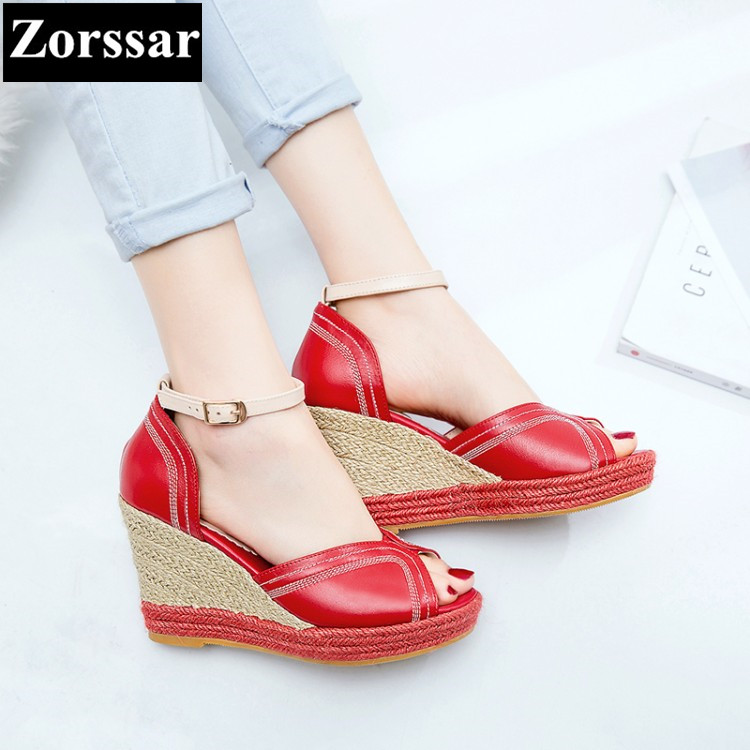 Summer Women shoes Casual platform wedges High heels open toe sandals 2017 Fashion Genuine leather women's heels pumps shoes woman fashion high heels sandals women genuine leather buckle summer shoes brand new wedges casual platform sandal gold silver