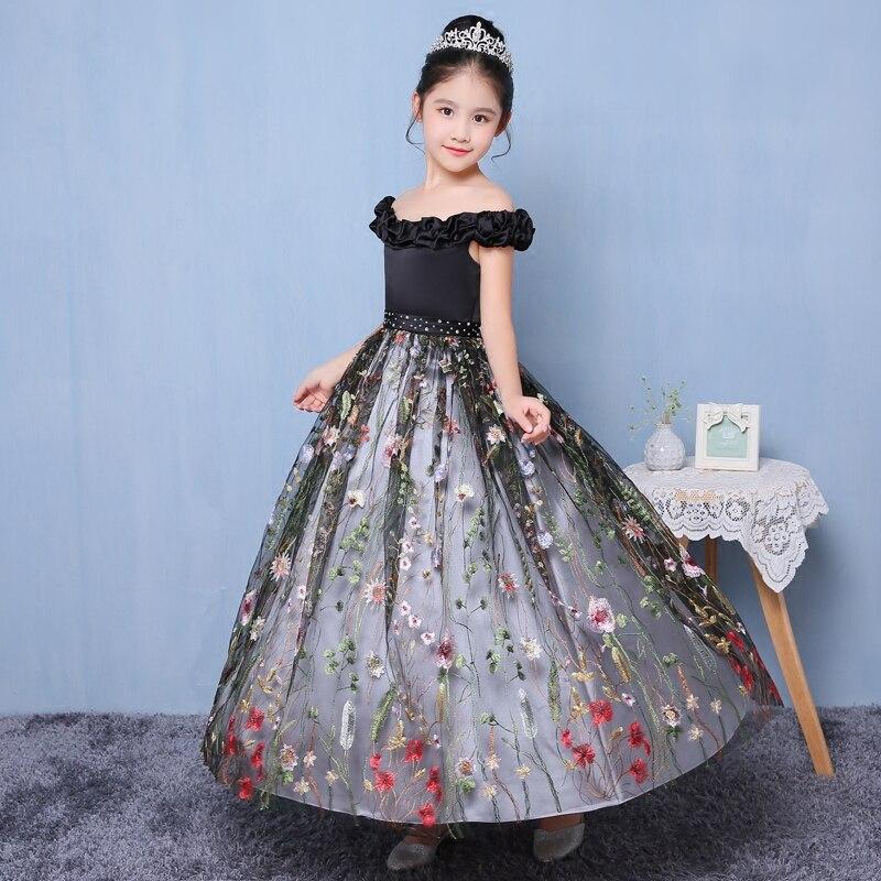 все цены на Off Shoulder Princess Dress Appliques Kids Pagent For Birthday Wedding Dress Flower Girls Dresses Ball Gown Tutu Dress Girl D109