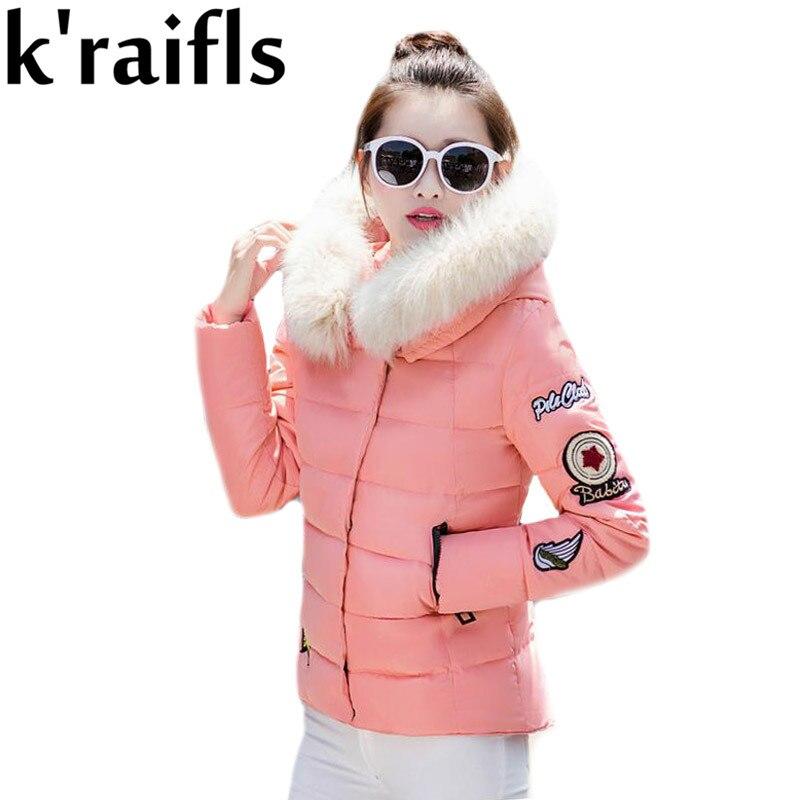 ФОТО k'raifls 2017 New Snow Wear Faux Fur Hood Parka Winter Jacket Women Thick Warm Cotton Winter Coat Women Casaco Manteau Femme