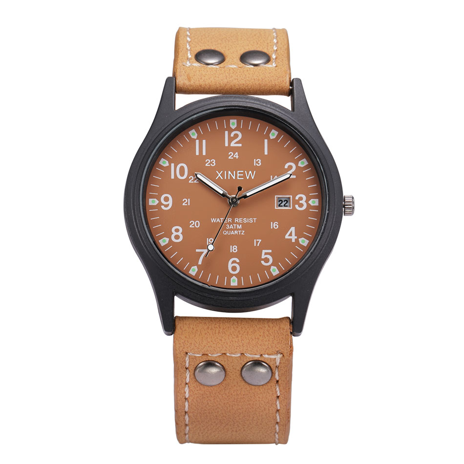 NEW Brand XINEW Fashion Army Design Watches Men Leather Band with Calendar Casual Luminous Quartz Watch