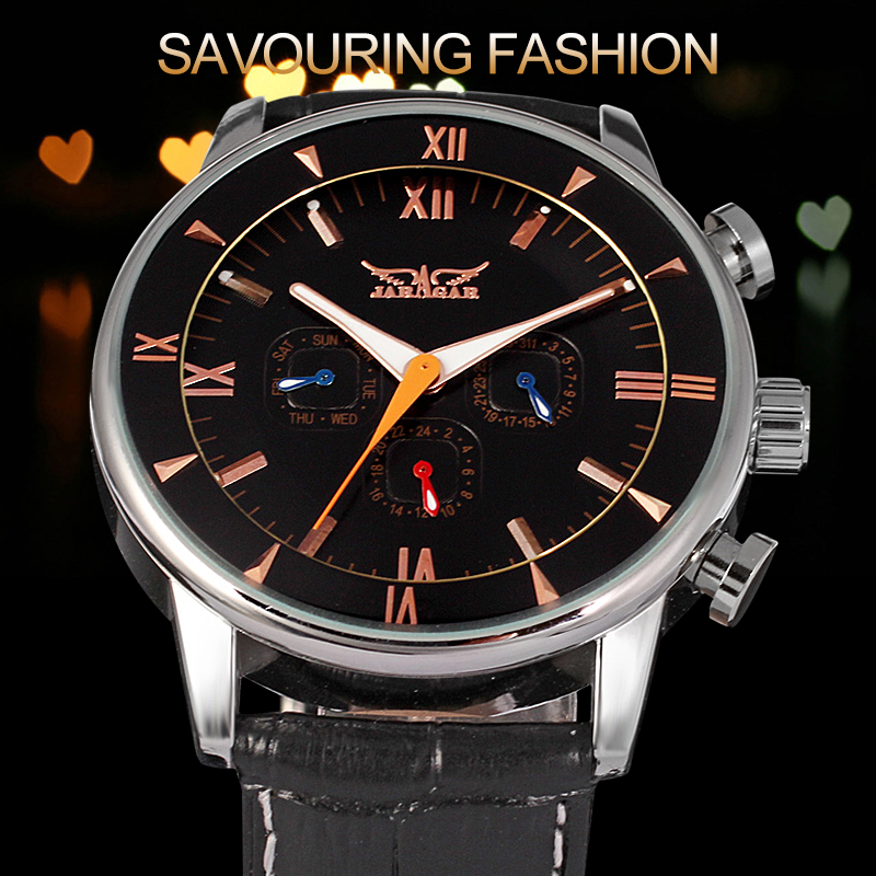 Automatic Men Watch Factory Black Genuine Leather Strap Best Price with Original Box original box uk gec 807 vt60 sound super single price