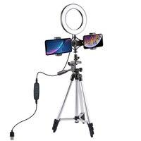 PULUZ 6.3 Inch LED Video Ring Light+Mini Desktop Tripod 3 Lighting Models for Youtube Broadcast Selfie Makeup Photography