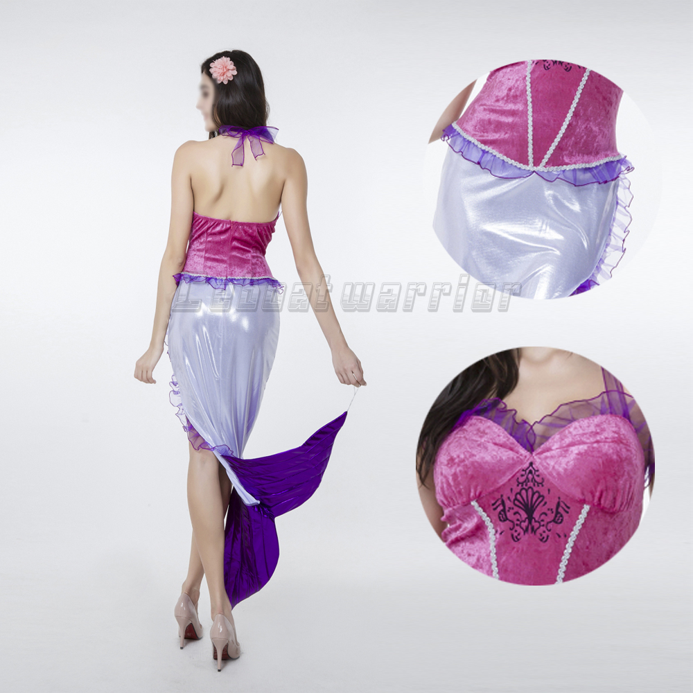 Halloween Little Mermaid Ariel princess cosplay costume Mermaid tail sexy fancy purple dress performance show