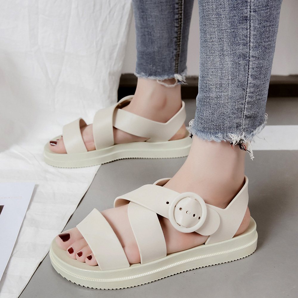 Ladies Cross Bands Ankle Buckle Backless Flat Shoes