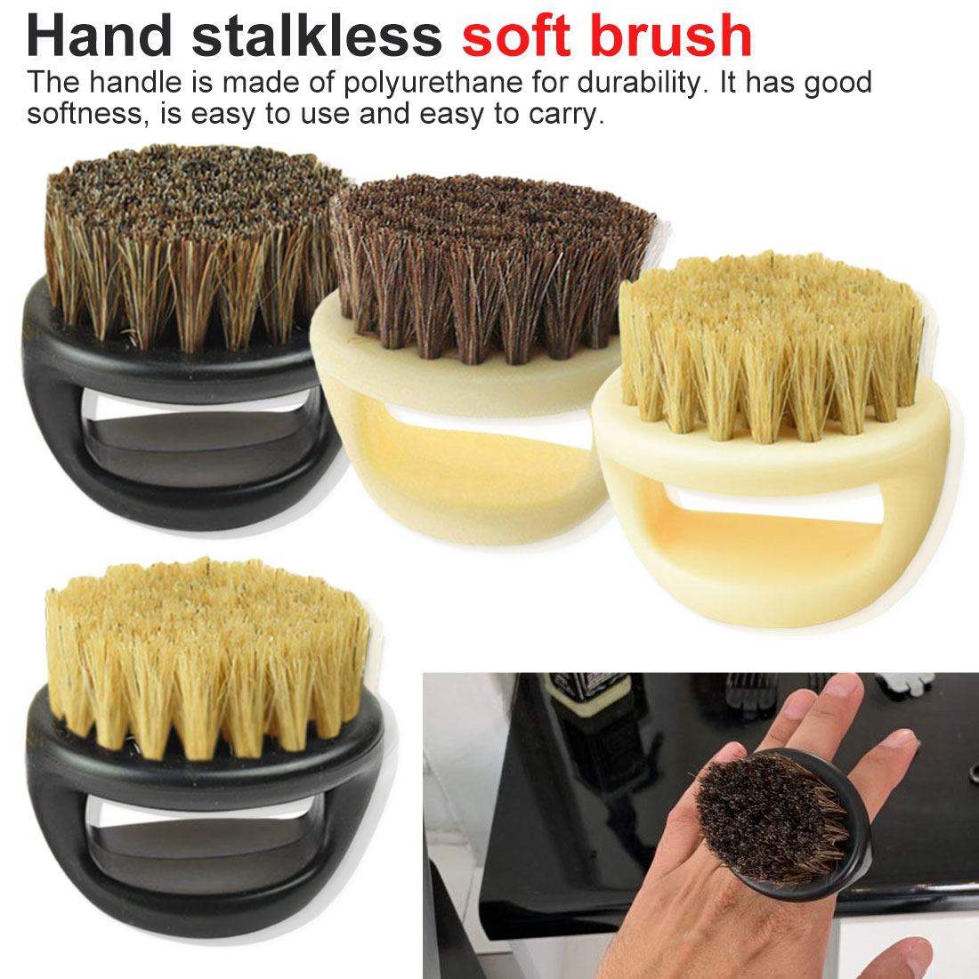 Salon Hair Sweep Brushes Shaving Facial Mustache Brush 1pcs Hairdresser Dust Brush Anti Static Boar Bristle Ring Beard Comb