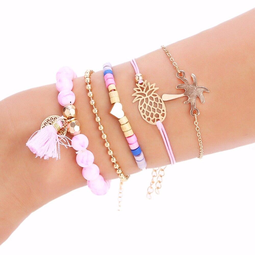 Jryfac 5pcs/set Multilayer Bracelets For Women Boho Pink Stone Tassel Hollow Pineapple Heart Coconut Tree Golden Beads Chain Crazy Price Charm Bracelets