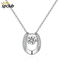 SPCLUB Elegant Created Crystal Zircon Pendant Necklace For Women 925 Silver Chain Wedding Party Top Quality Bijoux Jewelry(China)