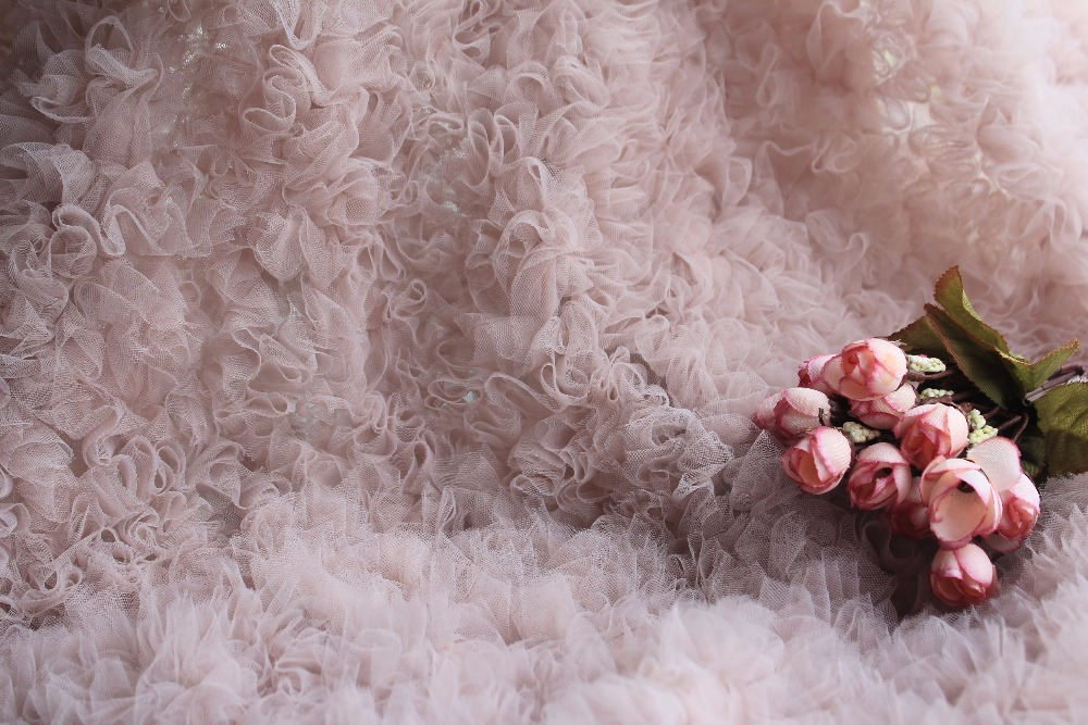 3D nude pink ruffle Fabric, haute couture dress fabric, Photography Prop Backdrop, Wedding Decors, wedding prop3D nude pink ruffle Fabric, haute couture dress fabric, Photography Prop Backdrop, Wedding Decors, wedding prop