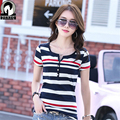 High quality Cotton Tees Fashion Summer T Shirt 2017 New V-neck striped women Korean version of the big size lady navy t-shirt