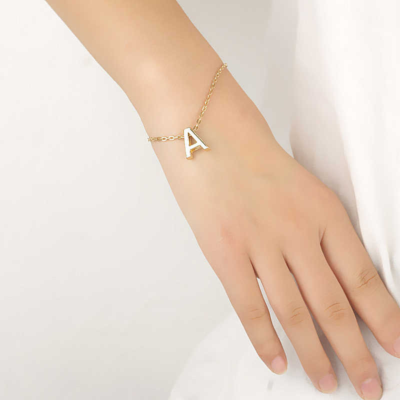Модный золотой браслет с буквенным принтом и браслет для женщин, серебряные регулируемые именные браслеты, ювелирные изделия, Женские Подарочные браслеты, Mujer