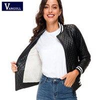 Vangull/зимние кожаные парки, новинка 2019 года, женская тонкая теплая короткая куртка, хлопковое пальто, женские Куртки из искусственной кожи с п...