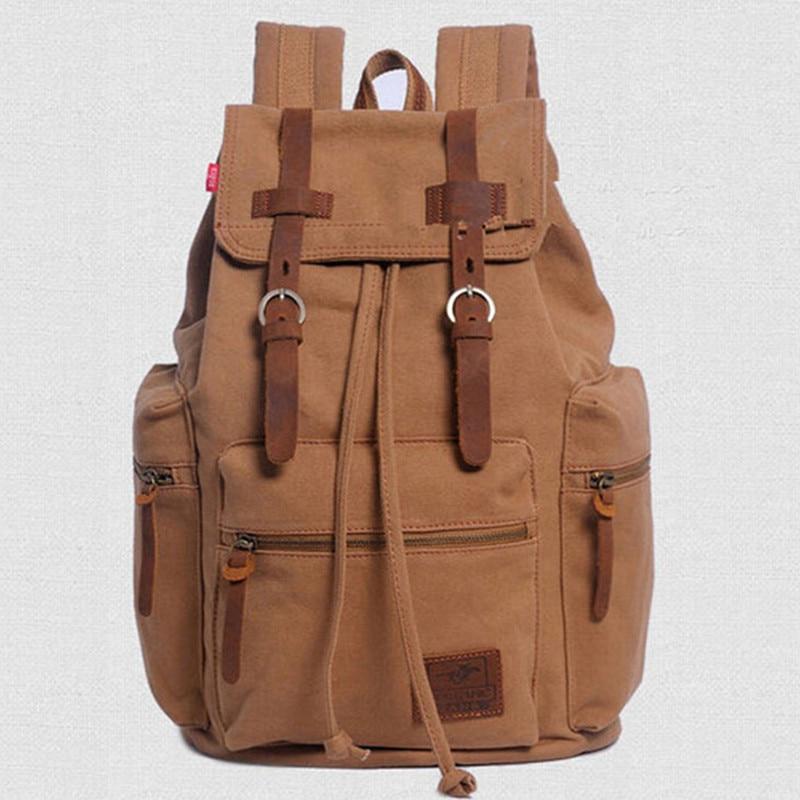 High Quality Men Vintage Canvas Backpack Men's Casual Riding Travel Backpacks Bag School Bags mochila escolar