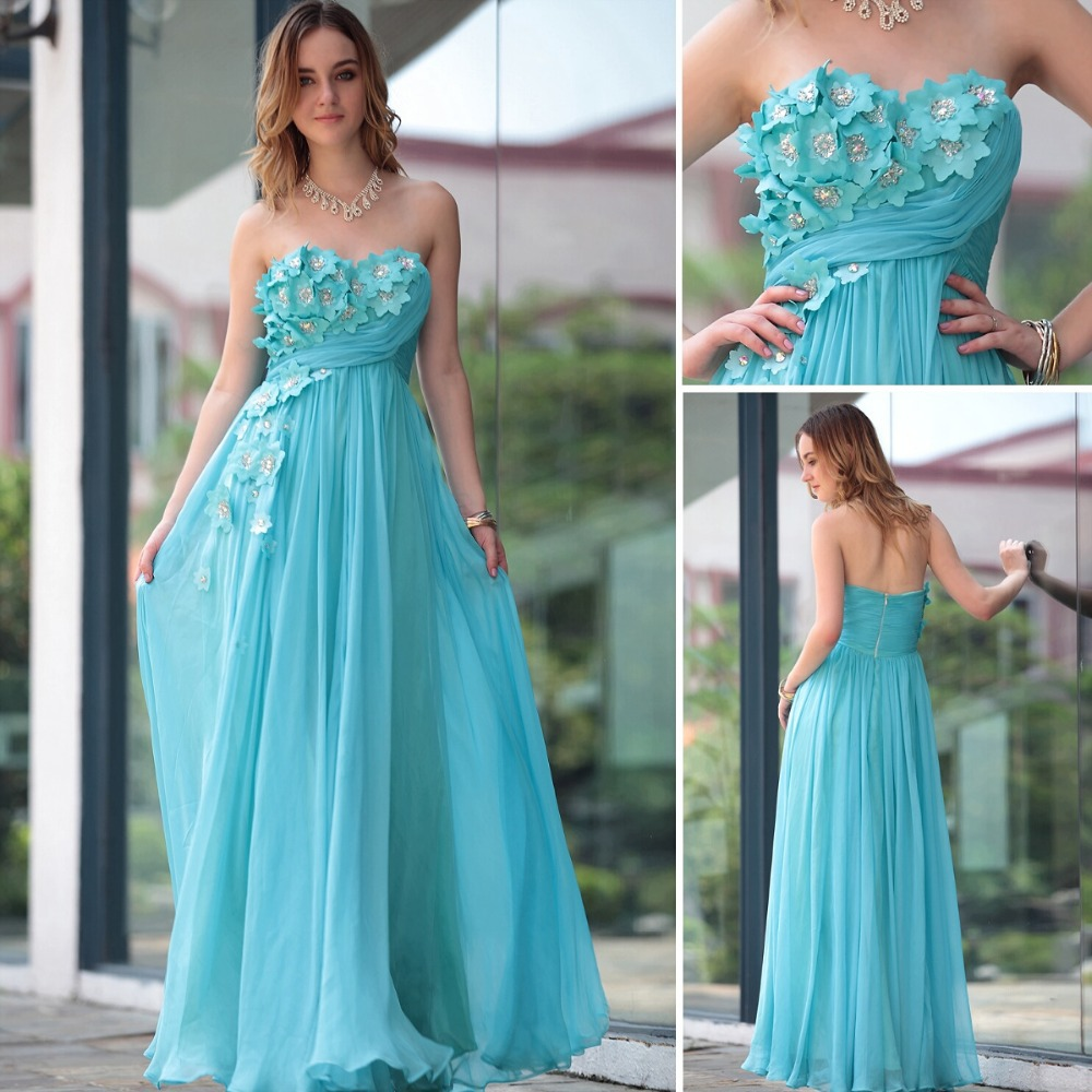 Hot 2015 Designer Prom Dresses Sky Blue Long Dress Beaded Flower ...