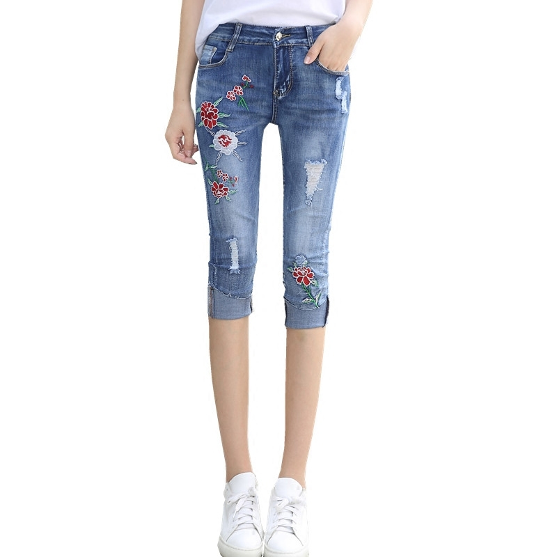 Online Buy Wholesale denim stretch capris from China denim stretch ...