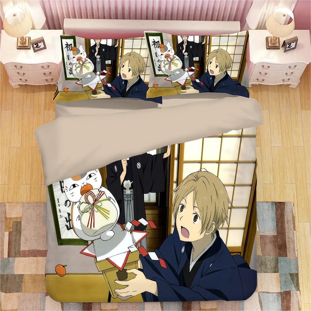 Anime bedding set twin size 3D cat duvet cover cartoon home textile kids bedding set children kids quilt cover sets pillowcase