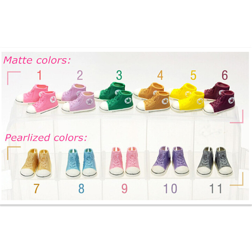 WOWHOT 3.5cm Doll Shoes For Blythe BJD Dolls Toy,11pairs Casual Cute Gym Shoes Accessories For Dolls Sneakers,11 Colors Mixed
