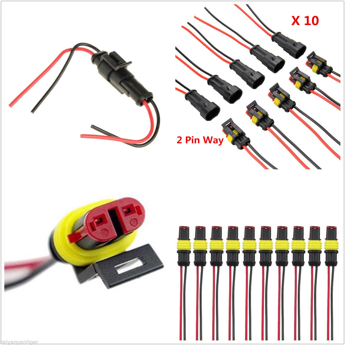 10 kit 2 Pin Way Car Waterproof Electrical Cable W/ Terminal Wire Connector Plug цена и фото