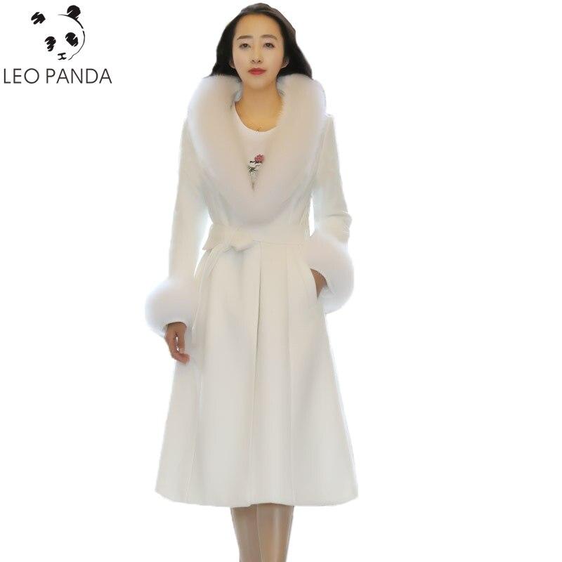 Stil Dame Oberbekleidung ausschnitt Ärmeln Winter Woolen Weibliche Lange Frauen White Taille beige Neue Mantel Büro Einstellbare C purple Starke Warme V 751 Eq5Wfw