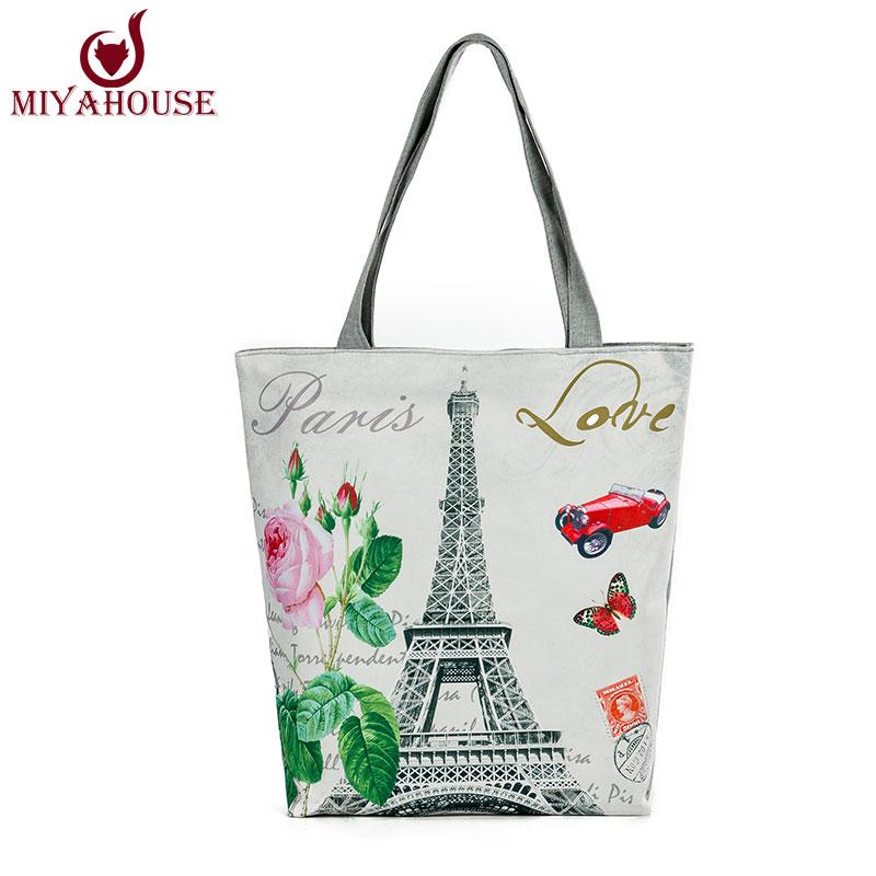 New Arrival Female Canvas Tote European Style Fashion Printing Women Handbag Can