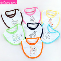 Mom's care 7Pcs baby bib printed anti overflow milk newborn week saliva towel baby waterproof cute cartoon baby burp cloth 0 24