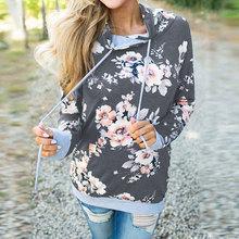 2019 jesień kwiatowy bluza z kapturem bluza kobiety zima bluza kobiet ciepłe bluza z kapturem damska damska bluza z kapturem z kieszeni tanie tanio Venlilulu COTTON Poliester Swetry Bluzy Floral REGULAR Pełna Na co dzień Suknem M0552 weight