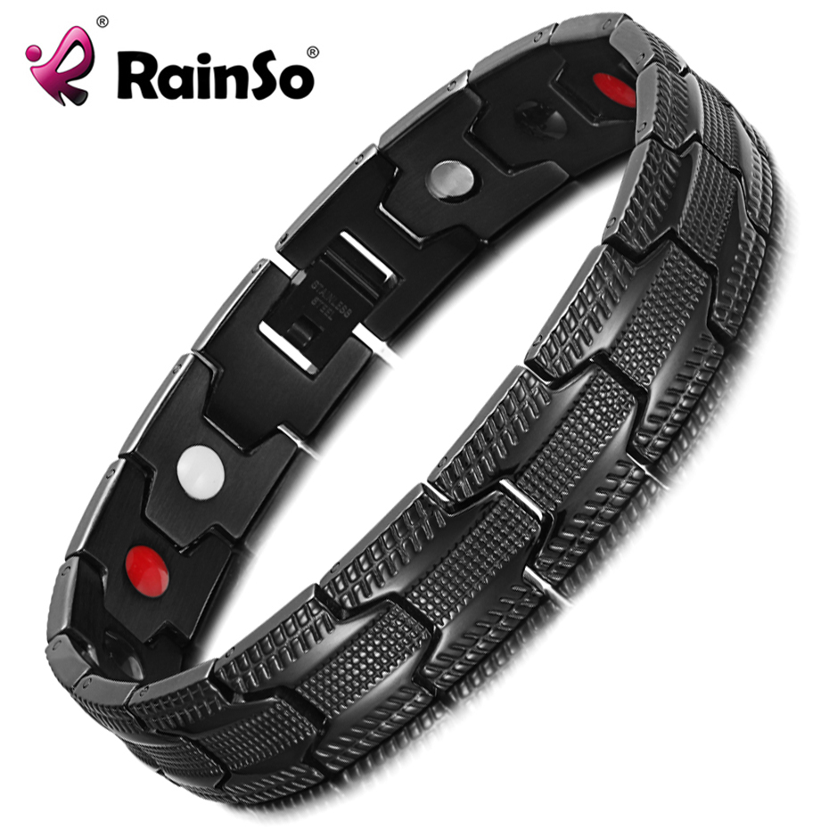 RainSo Negative Ions Magnetic Therapy Bracelet Bangle Hologram Bio Energy Bracelets Wristband Men