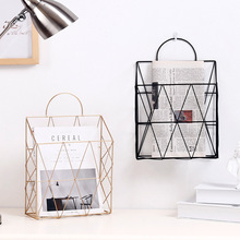 Metal Iron Wall-mounted Storage Hook Shelf For Hanging Newspaper Magazine Book Basket Shelves Display Holder Case Nordic Decor