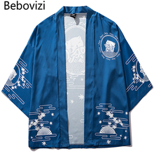 Bebovizi Japan Style Cat Printed Thin Kimono Men Japanese Streetwear Blue Jackets Casual Outerwear 2019