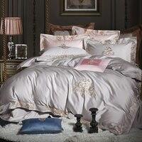 100% Египетский хлопок люкс Royal постельных принадлежностей белый серый зеленый синий queen King size вышивка Стёганое одеяло/пододеяльник комплект