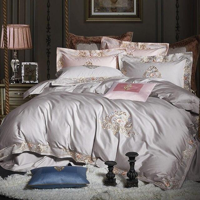 مجموعة مفروشات سرير فاخرة من القطن المصري 1000TC باللون الأبيض والرمادي US Queen King size 260X230 المطرز/مجموعة غطاء لحاف وملاءة السرير