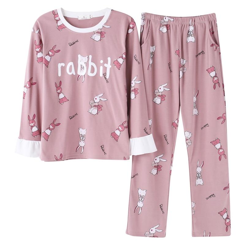 100% cotton Autumn Long Sleeve Women   Pajama     sets   Cotton Pyjamas Pink Lovely rabbit sleepwear Girl bunny homewear