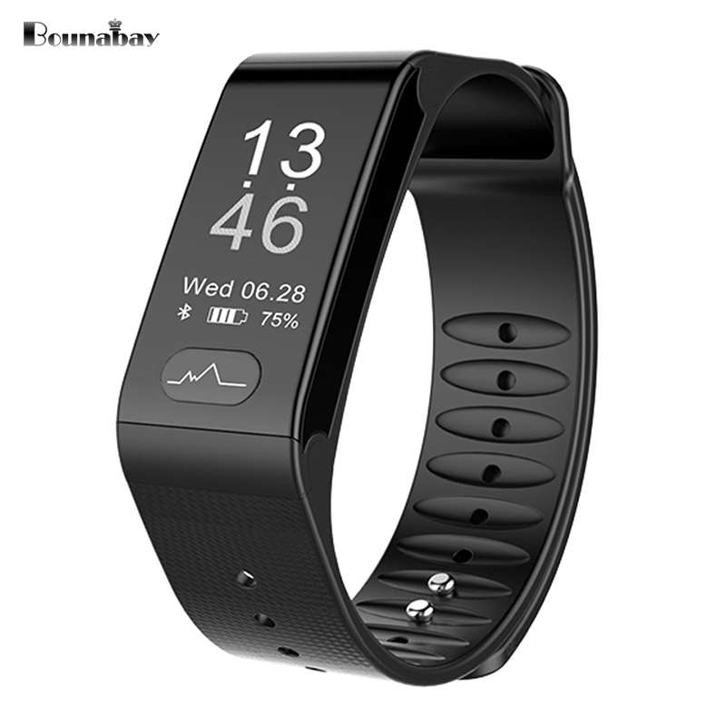 BOUNABAY Heart Rate Pedometer Smart Bluetooth waterproof watches men sports watches men's for apple android ios man watch Clocks