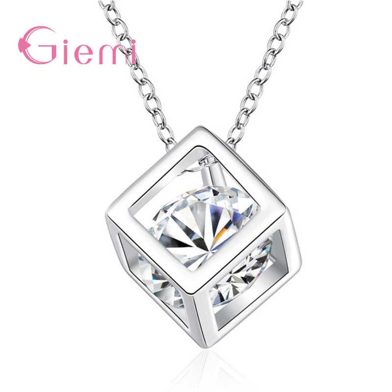 Halus 925 Sterling Silver Perhiasan dengan Cubic Zirconia Square Liontin Kalung Wanita Ulang Tahun Hadiah Yang Indah