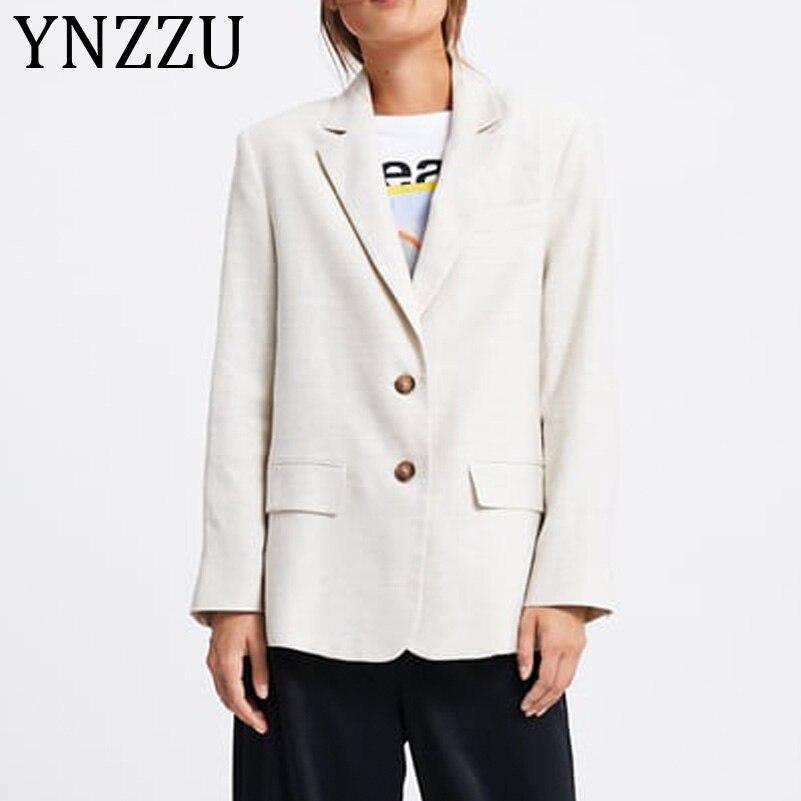 YNZZU 2019 Autumn Office Lady Suit Coat Women Elegant Notched Collar Single Breasted Loose Blazer Women Jacket Female AO987