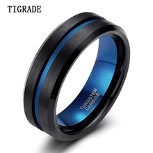 TIGRADE 8mm Blue&Black Mens Tungsten Carbide Ring Blue Line Design For Women Wedding Engagement Rings Fashion Jewelry