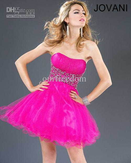 Nuevo estilo sin tirantes fucsia juveniles Beads balón vestido corto ...