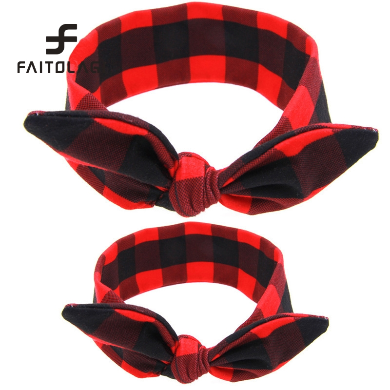 442c710b24d 2Pc Set DIY Mom   Girl Rabbit Ears Headband Women Hair Bands Mother  Children Turban Elastic Bow Headbands