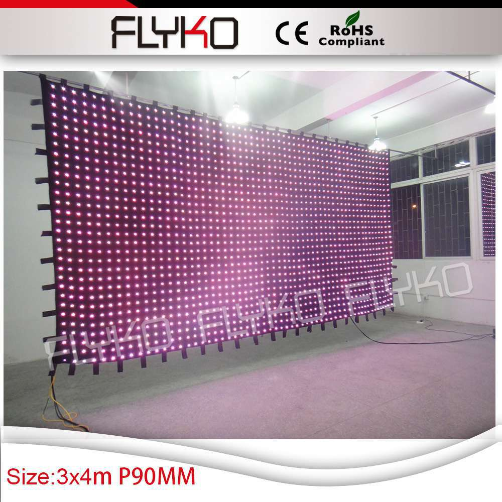 Free shipping 3X4M P9CM high definitin strong effect Alibaba express led cloth curtain Stage backdrop