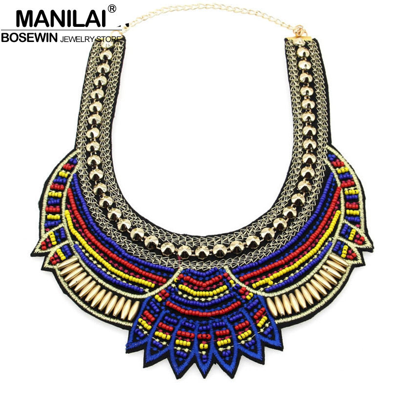 MANILAI Fashion Handmade Ethnic Choker Necklace Bib Collares