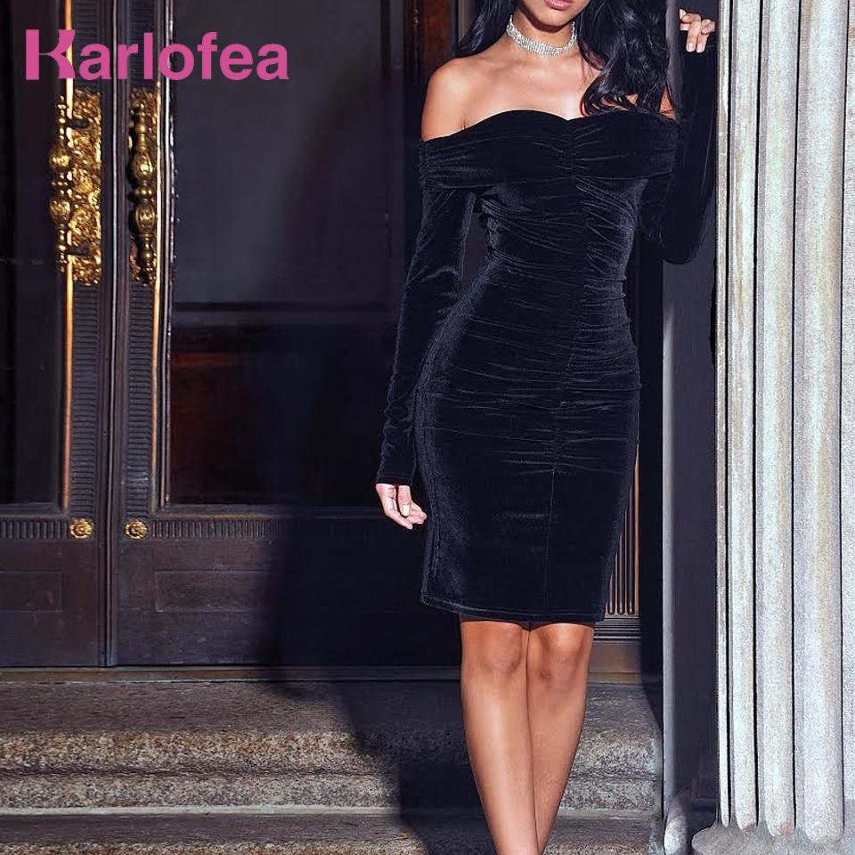 Karlofea New Spring Midi Dress Solid Black Elegant Casual Off Shoulder Velvet Dress Sexy Club Long Sleeve Bodycon Party Dressmidi dressvelvet dressbodycon party dress -