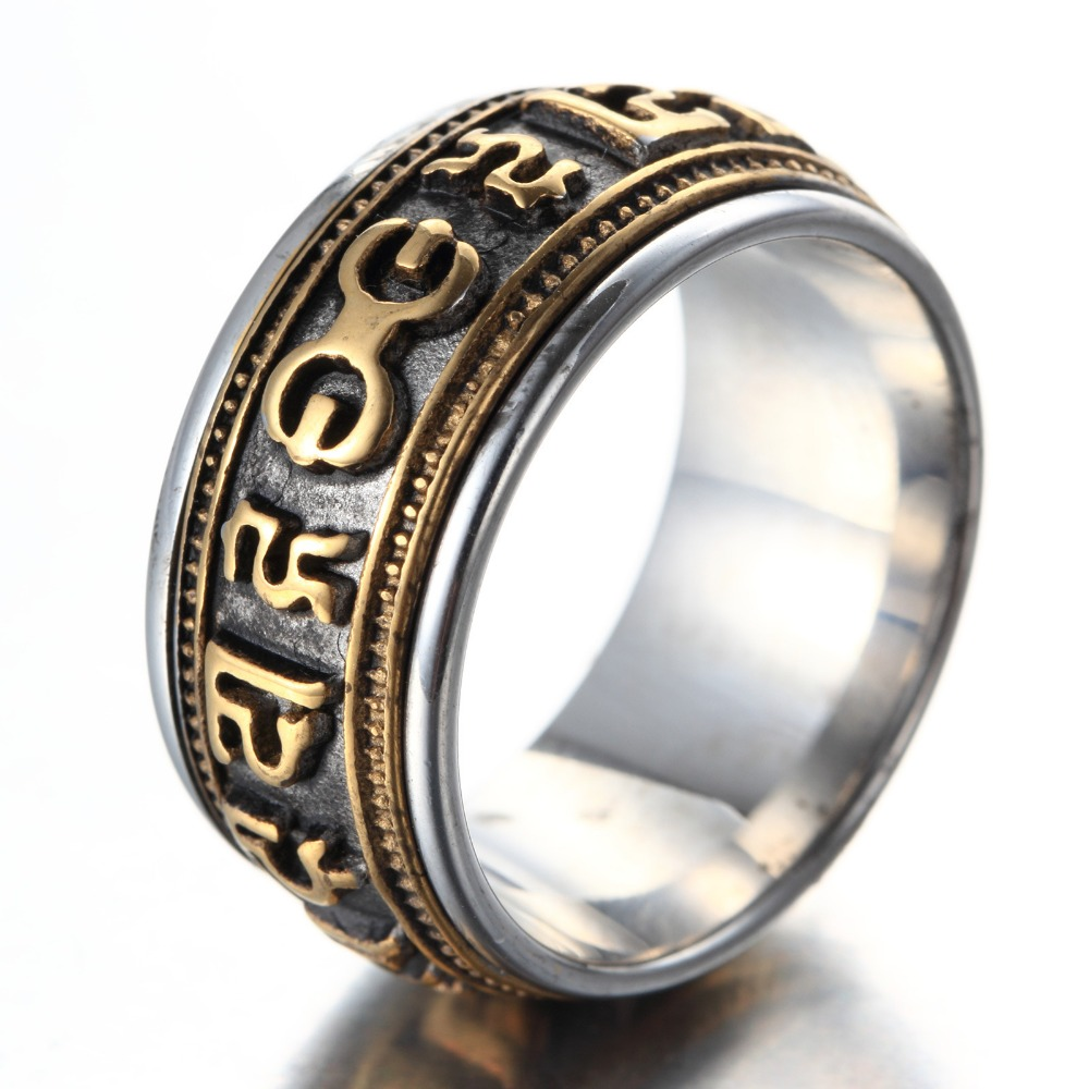 Gold Silver Mantra rotatable ring men titanium steel tide retro domineering personality single index finger ring with jewelry