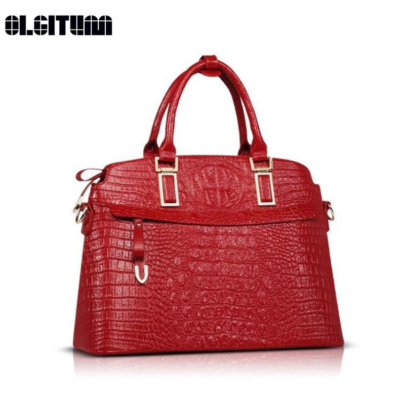 OLGITUM Hot Sale 2017 Fashion  Famous Handbag Luxury  Shoulder Messenger Bags Crocodile Women  Leather Embossed Bag HB165 yuanyu new 2017 new hot free shipping crocodile women handbag single shoulder bag thailand crocodile leather bag shell package
